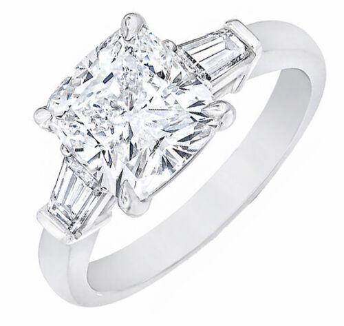 3-Stone GIA Certified Cushion Cut Diamond Engagement Ring 3.10 ctw Platinum