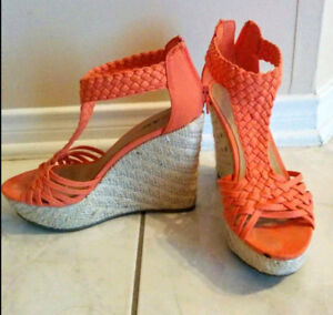 Just Fab wedges in Orange size 6