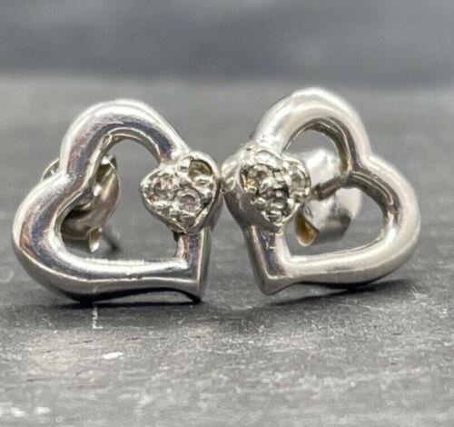Vintage 925 Sterling Silver Heart Stud Post Earrings Glass Stones