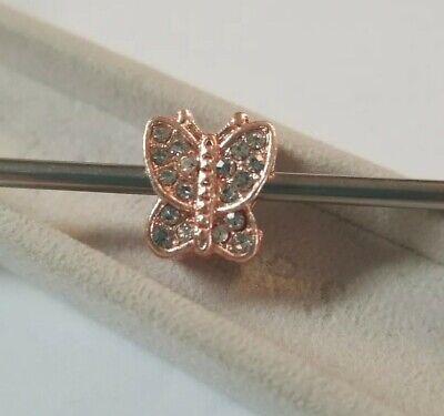 Rose Gold Cz Butterfly Charm / Pandora Bracelet 925 Sterling Silver