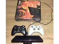 Xbox 360 Slim with 50+ games and 2 controllers and Kinect