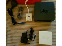Sky Hub wireless router and booster