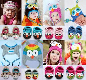 Cute-Handmade-Newborn-Baby-Crochet-Knit-Hats-Shoes-Photograph-New-8-Color