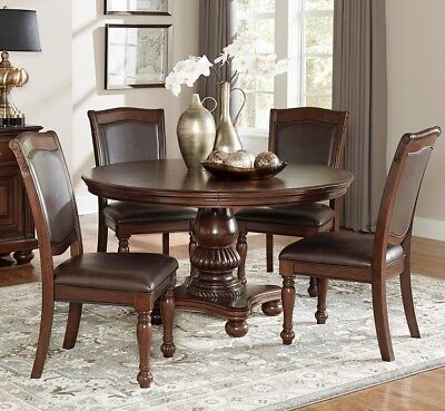 Homelegance Dining Table Set - 5PC FORMAL LORDSBOURG CHERRY FINISH WOOD 54
