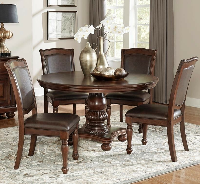 Details About New 7pc Lordsbourg Cherry Finish Wood 54 Round Pedestal Dining Table Set