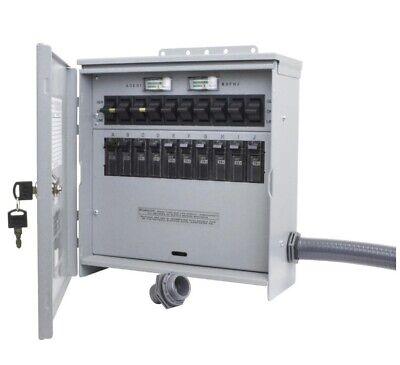 New Manual Transfer Switch 10-circuit Outdoor Reversible Door 30 Amp 7500 Watt