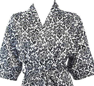 Black and White Damask Print Luxury Silky Satin Robe - Sale Price!](Black And White Damask)