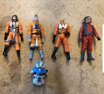 Star Wars Loose Figure Bundle Lot Modern POTF Clone Wars Saga Rebel Pilots X 5
