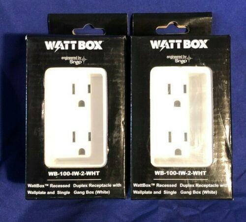 Watt Box WB-100-IW-2-WHT, Recessed Duplex Receptacle w/Wallplate - Lot of 2