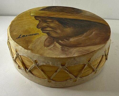 Native American Hand Painted Handcrafted Hand Drum Rawhide & Wood Frame~Lobatos