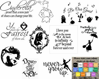 Wall art stickers disney inspired, removeable decor, quality vinyl decal quotes
