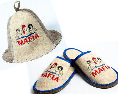 Russian Banya Sauna Hat + Slippers for men Sheep wool Flat Mafia Comorra for sale  Shipping to United States