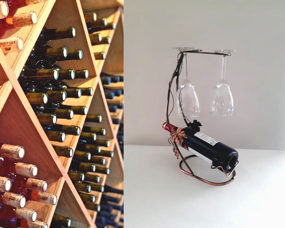 Support porte bouteille verres vin decor metal présentoir rangement de cuisine