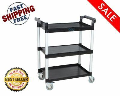 32 X 16 X 38 Black Plastic 3 Shelf Restaurant Utility Commercial Bus Tub Cart
