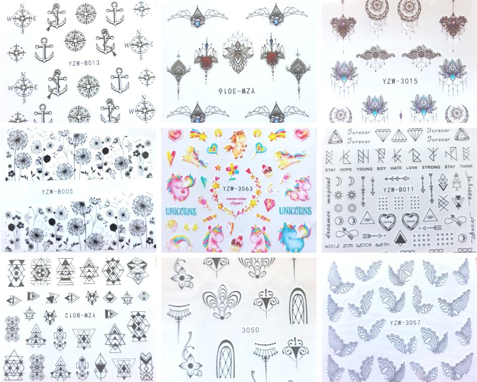 Nagel Sticker Nailart Nail Art Aufkleber Tattoo Blumen Einhorn Anker Ornamente