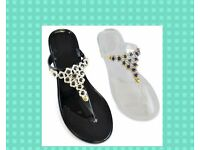 LADIES COLOUR JEWELLED STRAP JELLY SHOES