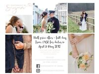 Half price wedding photography in April and May 2018 - book now to secure date!