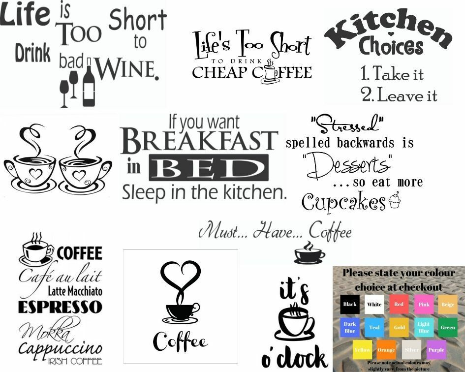 Home Decoration - Wall art stickers for kitchen, removeable Home decor, quality vinyl decal quotes