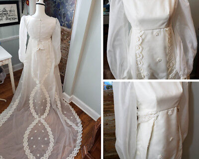 Ivory Vintage Wedding Dress Long Sleeve Train Theater Maiden Small 2 4 Formal