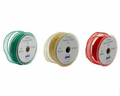 30mm x 20m Wired Edge Organza Ribbon Roll - Sheer Chiffon - Red, Green or Gold Chiffon Ribbon Roll