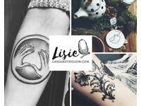 Black & grey dot-work tattoos. Custom and pre-designed!
