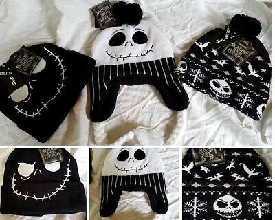 Winter Hat Jack Skellington Cuff Beanie Pom Nightmare Christmas Haloween Party