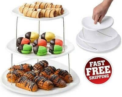 Collapsible Party Serving Tray Platter Appetizer 3 Tier Server Snacks Cake - Tiered Serving Tray