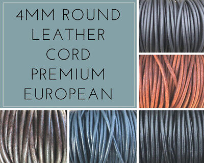12 Round Leather - 4mm Round Leather Cord Premium European Leather Cord 12 Colors 1 Yard