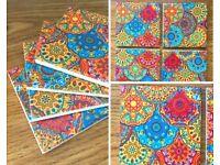 Ceramic Drinks Coasters Homemade Bright Moroccan Textile Design