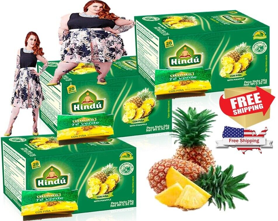 Hindu Green Tea with Pineapple Flavor 20 Pack of 3-total 60 bags detox + weight 2
