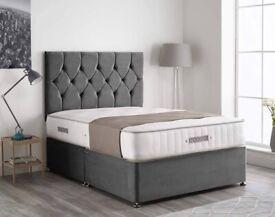 Brand New Plush velvet Divan beds Sets available now in stock