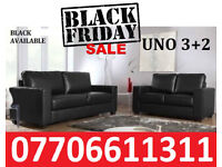 1/BLACK FRIDAY 50% OFF ITALIAN LEATHER SOFA 3+2 black or brown BRAND NEW 2306