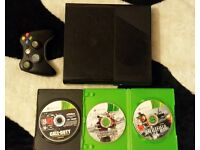 4gb xbox 360 e slim 3 games 1 wireless pad power lead hdmi fully working online aswel