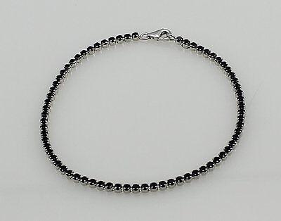 925 Silber Armband mit Onyx schwarz Tennisarmband für Damen  18,5 cm