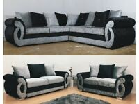 UK EXPRESS DELIVERY | CLIO 3+2 OR CORNER SOFA IN CRUSHED VELVET BLACK & SILVER | 1 YEAR WARRANTY