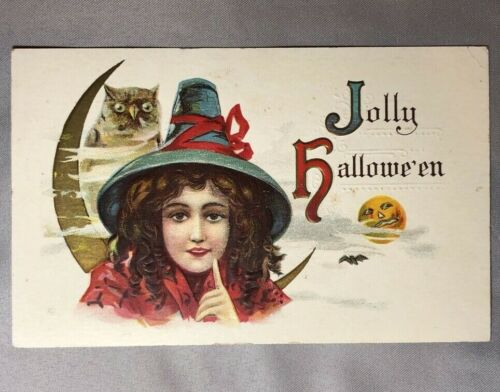 c 1910 Jolly HALLOWEEN WITCH Crescent Moon OWL Embossed POSTCARD 332 ANTIQUE