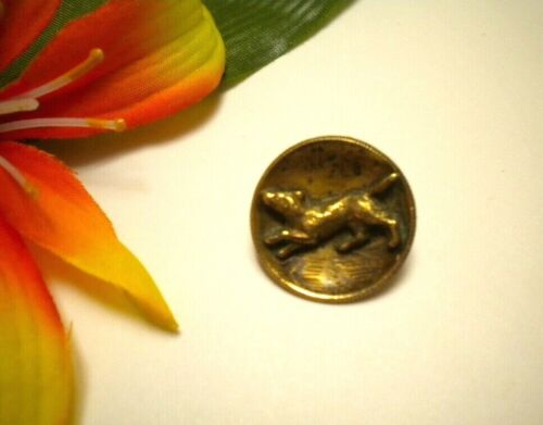 ANTIQUE HIGH RELIEF DOG PICTURE BRASS METAL CUP BUTTON