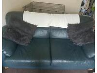 2 & 3 Leather Seater Sofa Navy blue