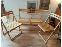 Set 4 retro wooden folding chairs - fold flat for stoarge