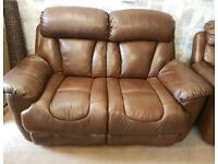 Brown leather 2 seater & electric recliner armchair. Delivery available