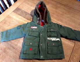 Green Parker style baby jacket age 12 months