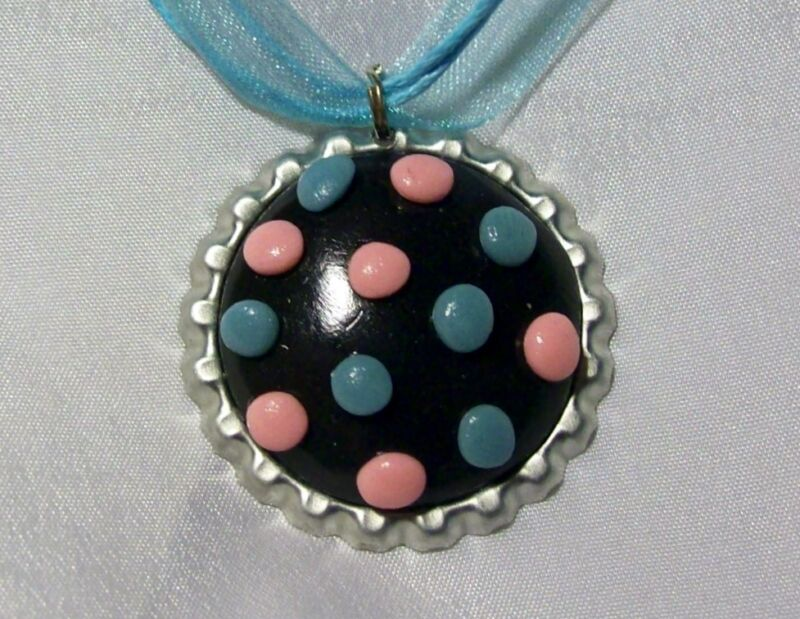 CANDY CRUSH LICORICE PENDANT AND EARRINGS black balls power game sprinkle blue