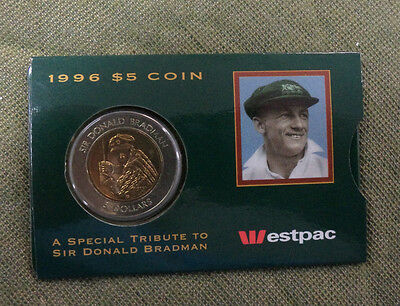 C7   1996 Don Bradman Westpac Bank  5 Coin In Slip