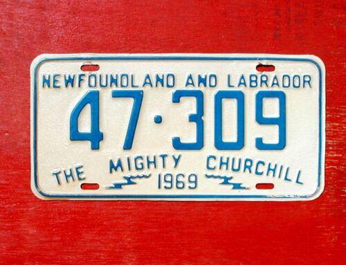 1969 Newfoundland Labrador Nice Original MIGHTY CHURCHILL 47-309  License Plate