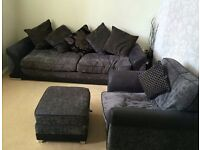 Charcoal 3 seater sofa, chair and footstool - £175 ONO
