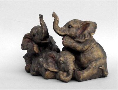 Elefant 3 Elefanten Babys Deko Artikel Garten Tier Figur Skulptur Afrika Statue