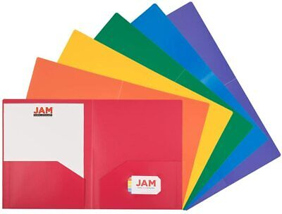 Jam Heavy Duty Two Pocket Plastic Folders - Primary Colors - 6pack