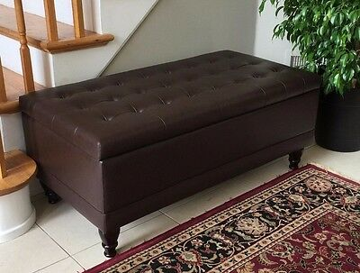 Storage Ottoman Tufted Brown Bonded Leather Bench Foot Rest Lift-Top