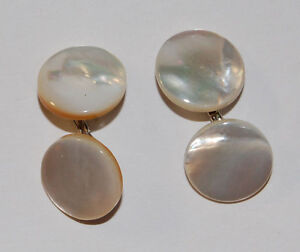 VINTAGE ROUND MOTHER OF PEARL SHELL CUFFLINK CUFF LINK LINKS 12mm MOP