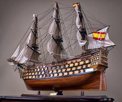 """SANTISIMA TRINIDAD 53"""" wood model ship large scaled Spanish sailing boat"""